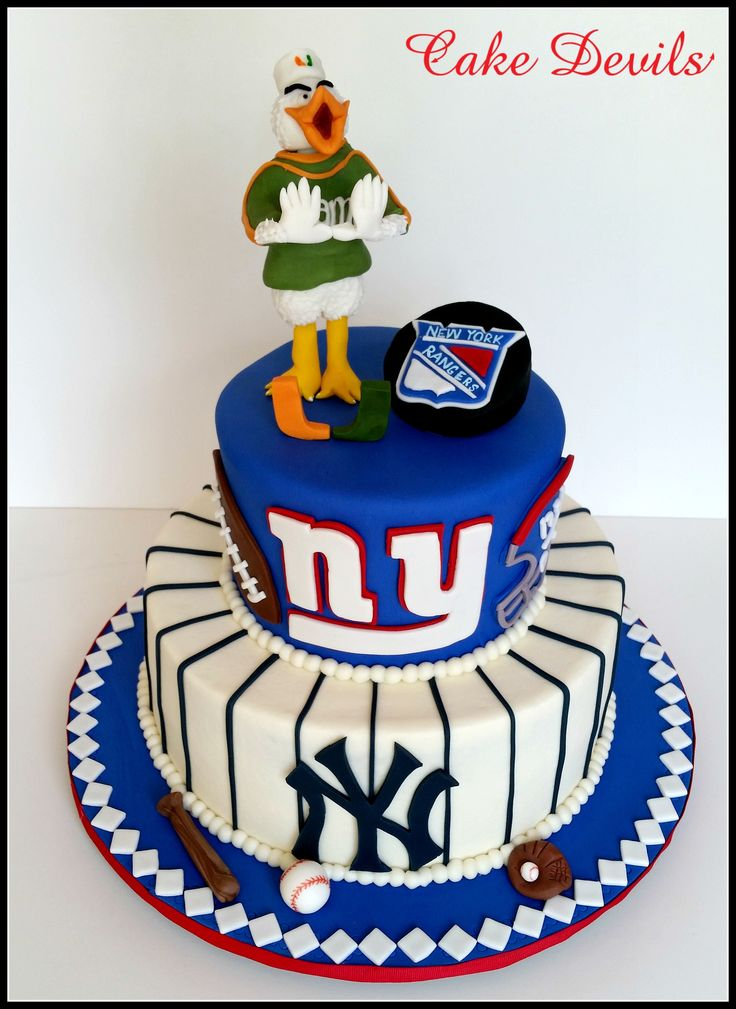 Groomscake- NY Yankees, NY Giants, NY Rangers, UMiami... not only amazing to look at, but also amazing to eat! http://www.cakedevils.com #groomscake #cakedevils