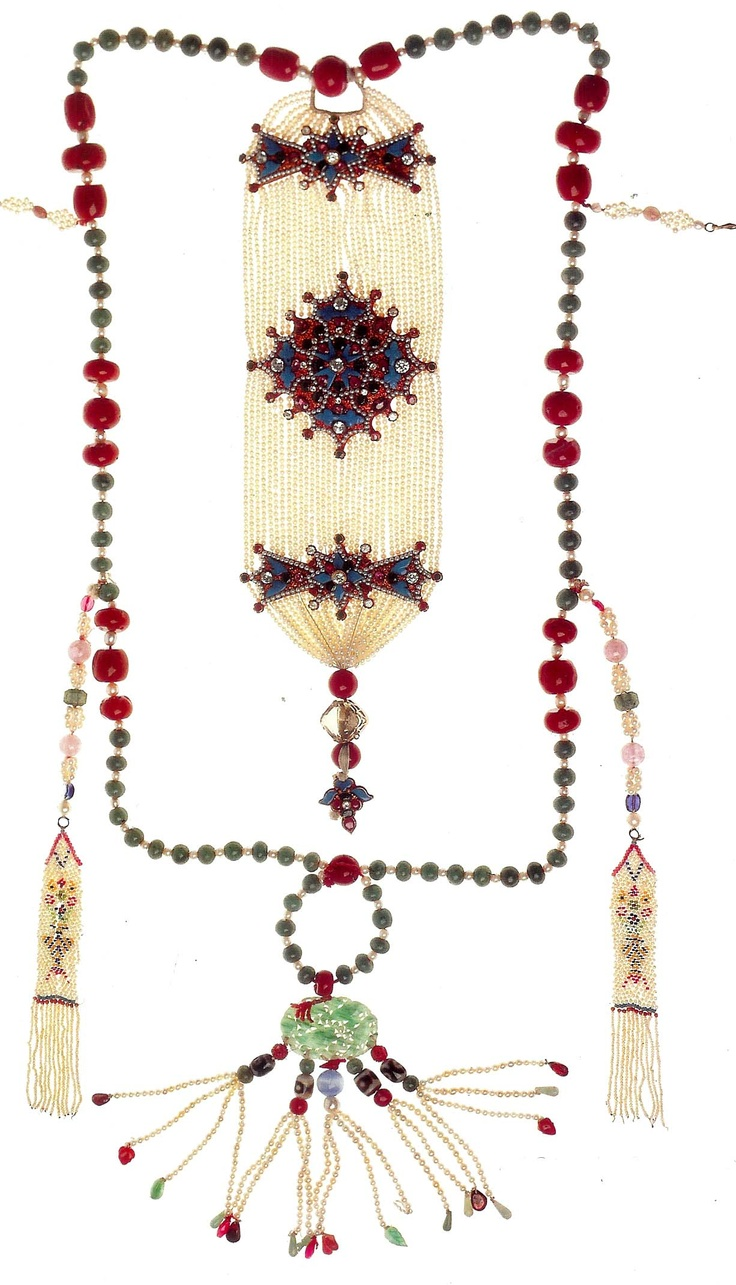 Aristocratic ornament of pearls , coral , gold and inlaid turquoise Tibet   coll. Pitt Rivers Museum