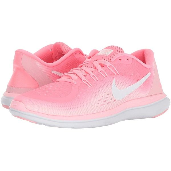 Nike Flex RN 2017 (Sunset Pulse/White/Arctic Punch) Women's Running... ($85) ❤ liked on Polyvore featuring shoes, athletic shoes, running shoes, flexible running shoes, athletic running shoes, laced up shoes and white running shoes