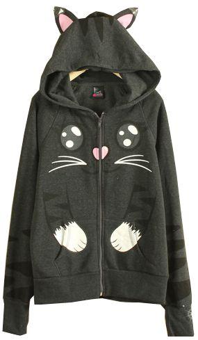 Dark Grey Long Sleeve Hooded Cat Pattern Sweatshirt -SheIn(Sheinside)