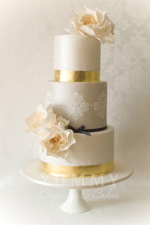 Metallic Wedding Cake Inspiration On WeddingWindow Blog