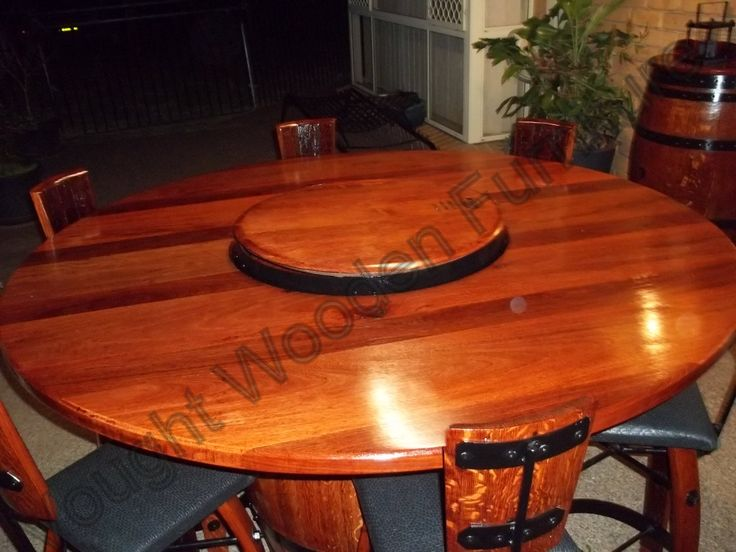 Wine Barrel Bistro Table Top With The Lazy Susan In The