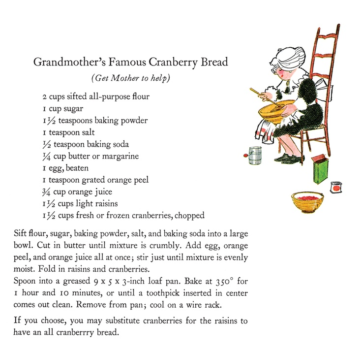 Secret recipe for Grandmother's Famous Cranberry Bread, from Cranberry Thanksgiving by Wende and Harry Devlin.