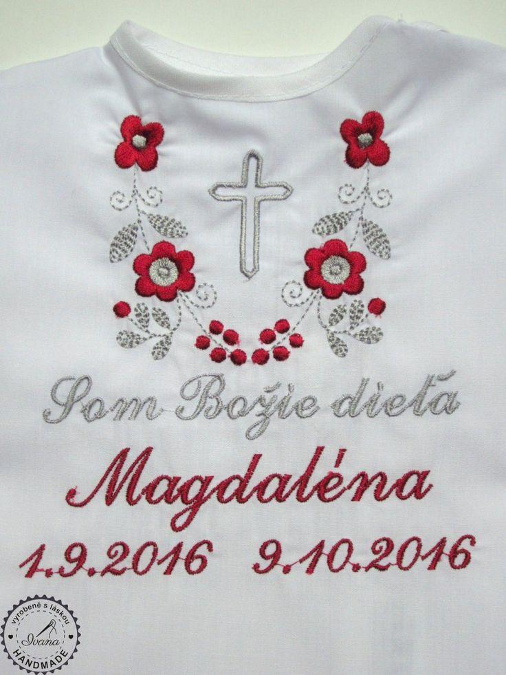 Košieľka na krst k14 bavlna biela, bordovo-šedá výšivka s krížikom