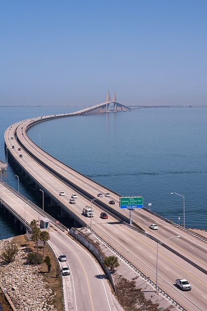 The Bob Graham Sunshine Skyway Bridge is a bridge spanning Tampa Bay, Florida, with a cable-stayed main span, and a total length of 4.1 miles. It connects St. Petersburg in Pinellas County, Florida and Terra Ceia in Manatee County, Florida, passing through Hillsborough County, Florida waters. ~s~3