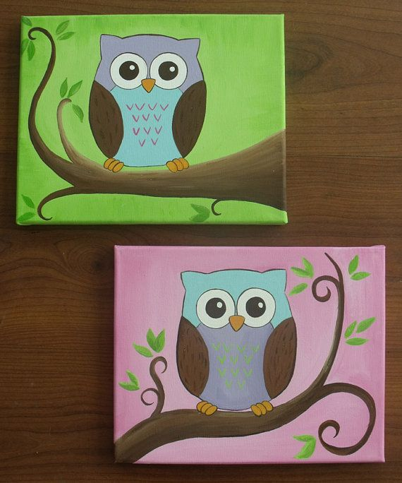 Bright Little Owls by Leilasartcorner on Etsy, $40.00