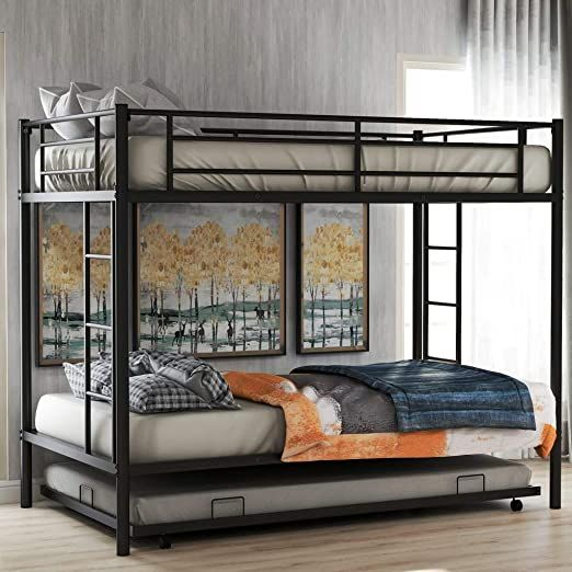 Metal Twin Over Twin Bunk Beds with Trundle Bed Twin Bunk ...