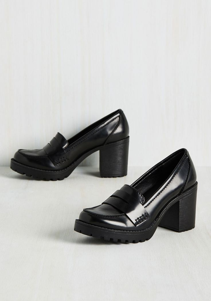 Loafer and Done With Heel. Take the guesswork out of finding the perfect shoe pairing by defaulting to these black block heels whenever wardrobe woes strike! #black #modcloth