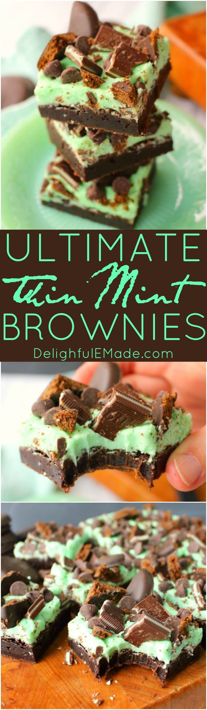 Let me introduce you to your new favorite brownie recipe!  A perfect combination of chocolate and mint, these fudgy mint brownies are topped with Girl Scout Thin Mint Cookies, Andes mints, chocolate chips, and an amazing layer of mint butter cream frosting.  Most definitely a brownie lover's dream come true!: