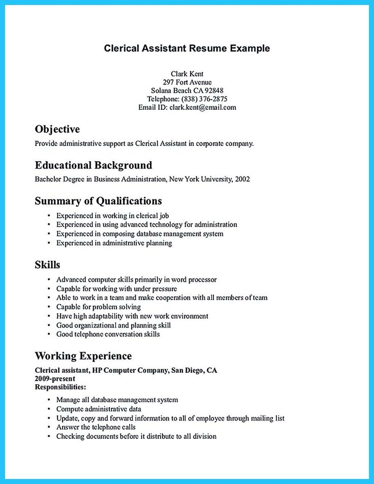 cool Writing Your Assistant Resume Carefully, Check more at http - clerical assistant resume sample