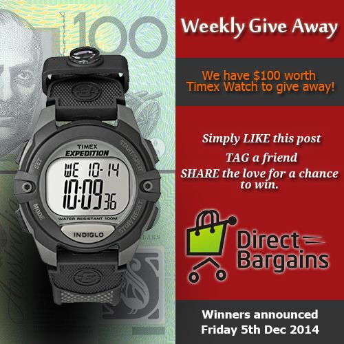 Share the Love for a Chance to WIN. Win a Timex Expedition Digital Wrist Watch T40941 worth $103.21 for Free. Yes you read it right its FREE. Simply follow the following steps: Visit our page on Fb and LIKE it then 1. Like the post. 2. Tag your friend. 3. Share the Post. Hurry up!!!!!!!!!! The Luck winner will be announced on 5th December 2014. Best of LUCK!!  For watch details…
