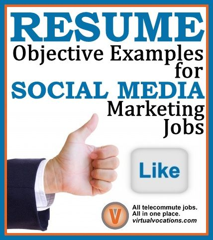 resume objective examples for social media marketing jobs virtual vocations