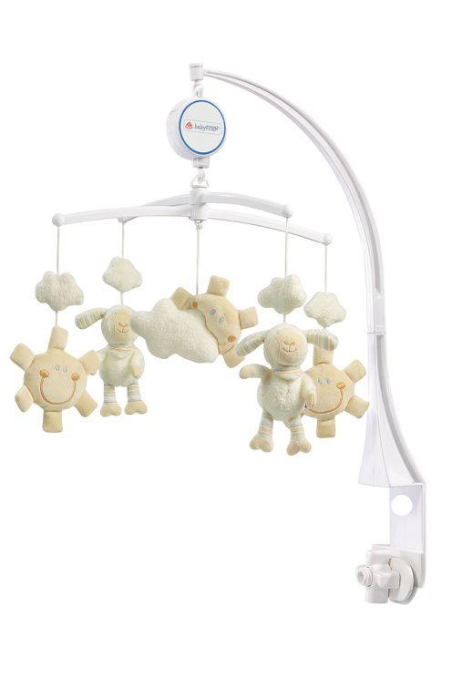 En fin sängmobil med speldosa att fästa på spjälsängen. Titta och lyssna på fåren som är uppe bland molnen.<br>Används från nyfödd fram tills att barnet kan sätta sig upp själv. Mobilarmen ingår.<br>- Mått: 40cm<br>- Ålder: 0-5mån<br>För att förhindra eventuell skada genom att barnet trasslar in sig, avlägsna denna leksak så snart barnet börjar försöka resa sig på händer och knän i krypläge. <br><br> <br><br>