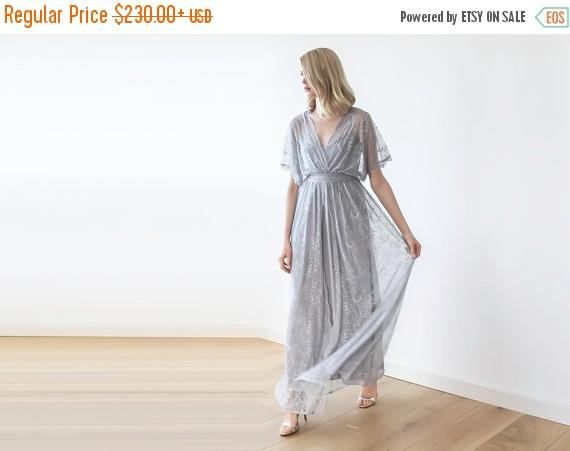 Lace maxi grey gown, Bridesmaids lace maxi dress, 2 in 1 lace and lining dress 1044