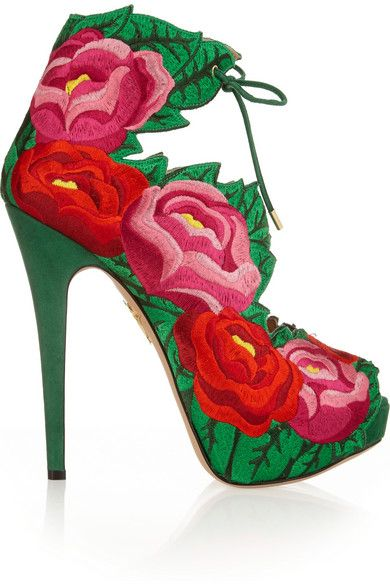 Covered heel measures approximately 145mm/ 6 inches with a 35mm/ 1.5 inches platform Multicolored embroidered satin, green suede Ties at ankle Come with an adhesive Polaroid picture which can be placed on the outside of your shoe box