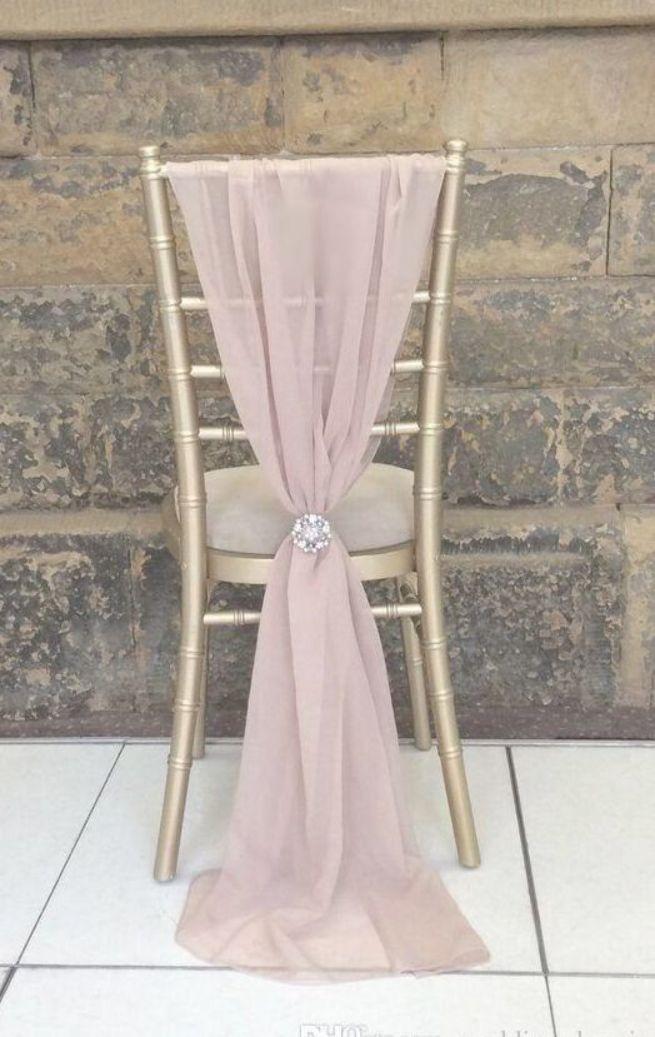 2019 Popular Fashion Wedding Chair Sashes Choose Color Chiffon 1 5