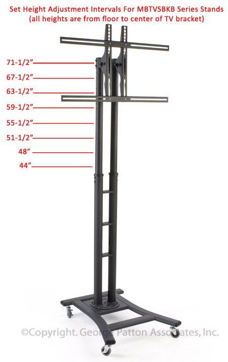 TV Stand With 19u201d Shelf, Fits Monitors 37u201d To 65u201d, Wheels U2013 Black