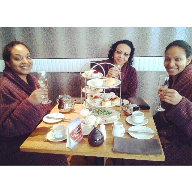 Lovely clients enjoying their afternoon tea at our spa