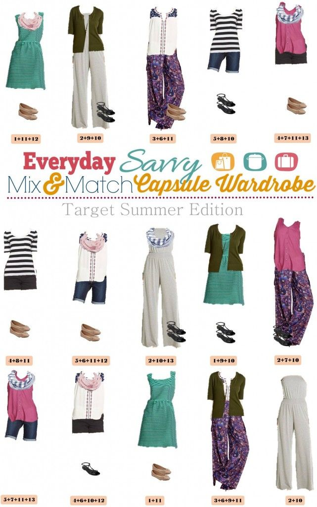 Here is a new Target Summer  Capsule wardrobe. It includes cute shorts, palazzo pants and a fun dress. We have included fun summer prints and colors. Capsule wardrobes don't have to mean boring neutrals! fashion, collection, style, outfit idea