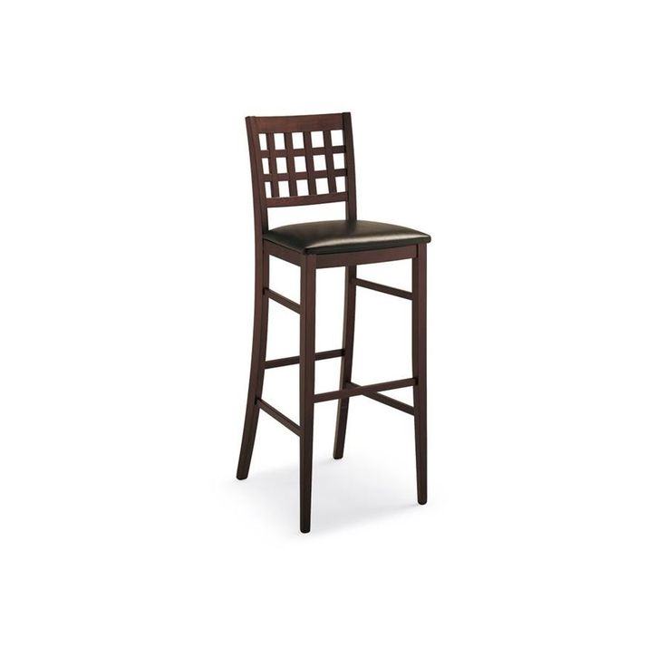 Sgabello alto con schienale Connubia Calligaris Suite CB/1189 -  Realizzato interamente in legno massello con seduta imbottita e rivestita in ecopelle.