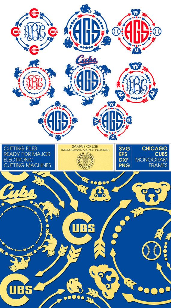 Chicago Cubs Arrow Monogram Frames  SVG eps DXF png  by ScrapCobra