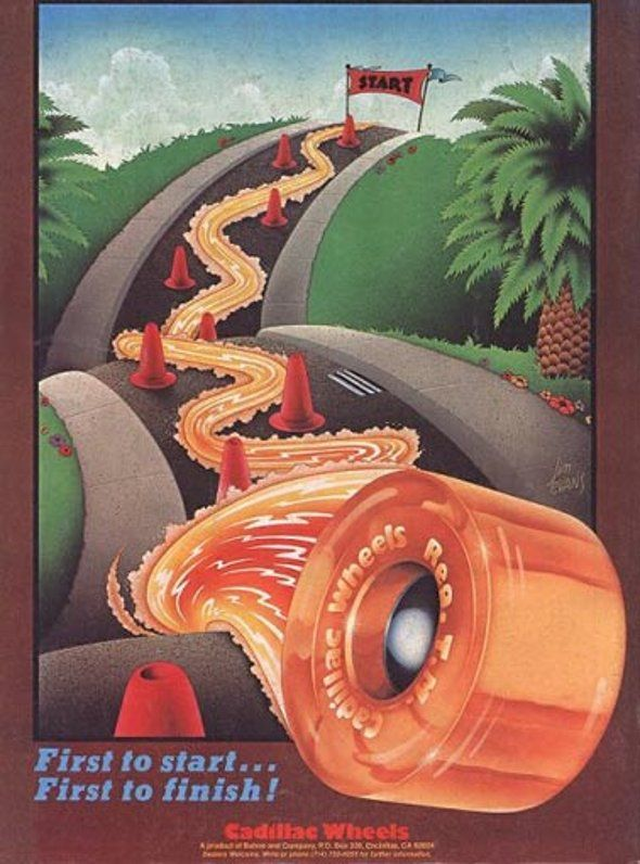 Vintage Skateboard Ad from the 70s and 80s.  Like the color and texture here as well as the perspective.