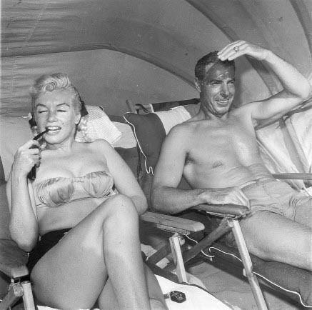 March 1961.  Marilyn Monroe and Joe DiMaggio in Redington Beach, Florida