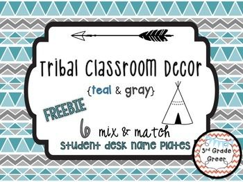Tribal prints and patterns are all the rage right now- why not keep your classroom trendy? This FREEBIE includes SIX different student desk name plates in coordinating teal and gray colors. Name plates are offered with or without a design of arrows or teepees.Like this decor theme?Check out my other products of making teal ad gray tribal classroom decor, for example my Tribal Classroom Editable Banners in teal and gray!