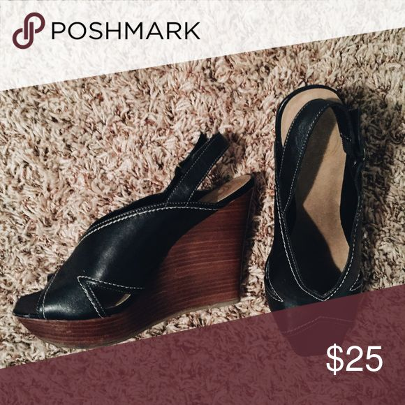 ⚫️Jessica Simpson Black Wedge Heels⚫️ Adorable and in good shape! These heels are loved, but don't show visible wear other than some scuff-age on the wedge part 😊 feel free to make me an offer or let me know if you have other questions. Jessica Simpson Shoes Heels