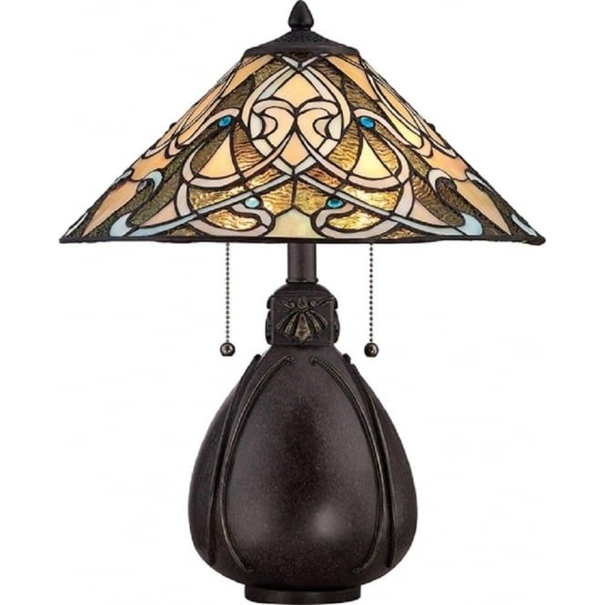 Compact lamp hand crafted using top quality American Art glass. It features a gently flowing interwoven pattern of cream and gold stained glass encrusted with blue jeweled beads that gives a flavour of the rich designs developed over the years in the Indian sub-continent