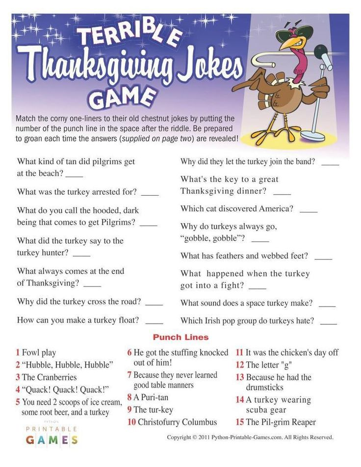 Thanksgiving Terrible Jokes Game, 6.95 Thanksgiving