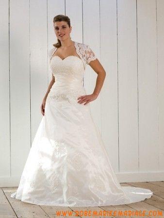 Robe A-ligne en satin et taffeats avec capaçon en dentelle robe de mariée grande taille