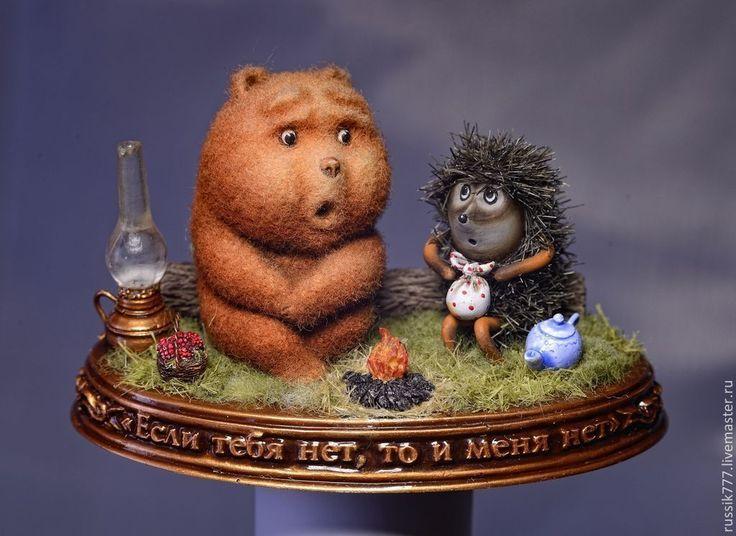 Картинки с ежиком и медвежонком, сани