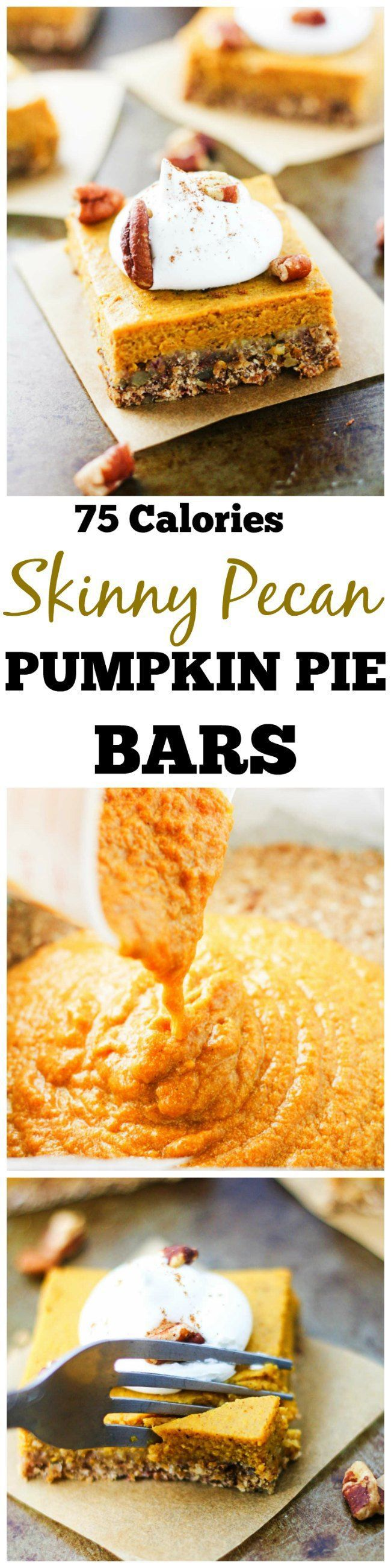Skinny Pecan Pumpkin Pie Bars - Delicious pumpkin bars are low calorie. A guilt free fall dessert!   It's Cheat Day Everyday