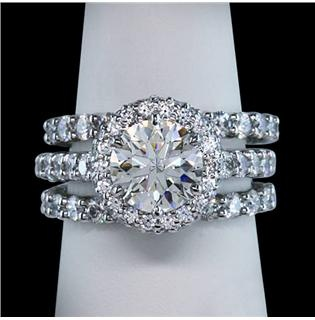 2.76 carat halo diamonds ring 3 row engagement ring white gold 18K solid gold- Thats my ring!I just need the second band...