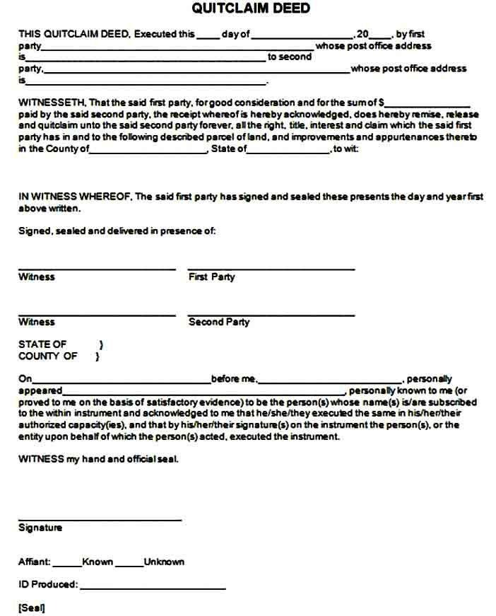 Template Quit Claim Deed Form