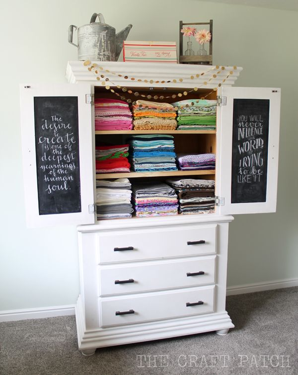This old armoire was given a face lift and now it is used for fabric storage!