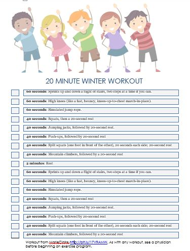 20 Minute Winter Workout for Kids printable                                                                                                                                                                                 More