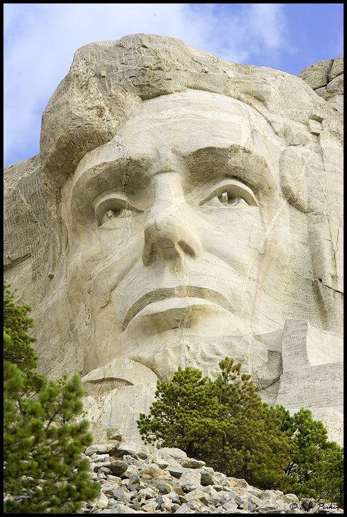 Abraham Lincoln on Mt. Rushmore, South Dakota. A different perspective on this common sight. Looks pretty majestic from here.