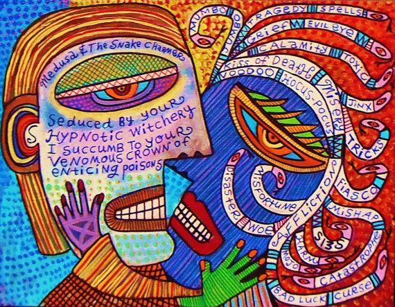 Medusa & The Snake Charmer Lover* - SILBERZWEIG ORIGINAL Art PRINT- Poem -Mexican, Folk, Heart, Heaven, Hell, Seranade, Kiss, Flames, Skulls