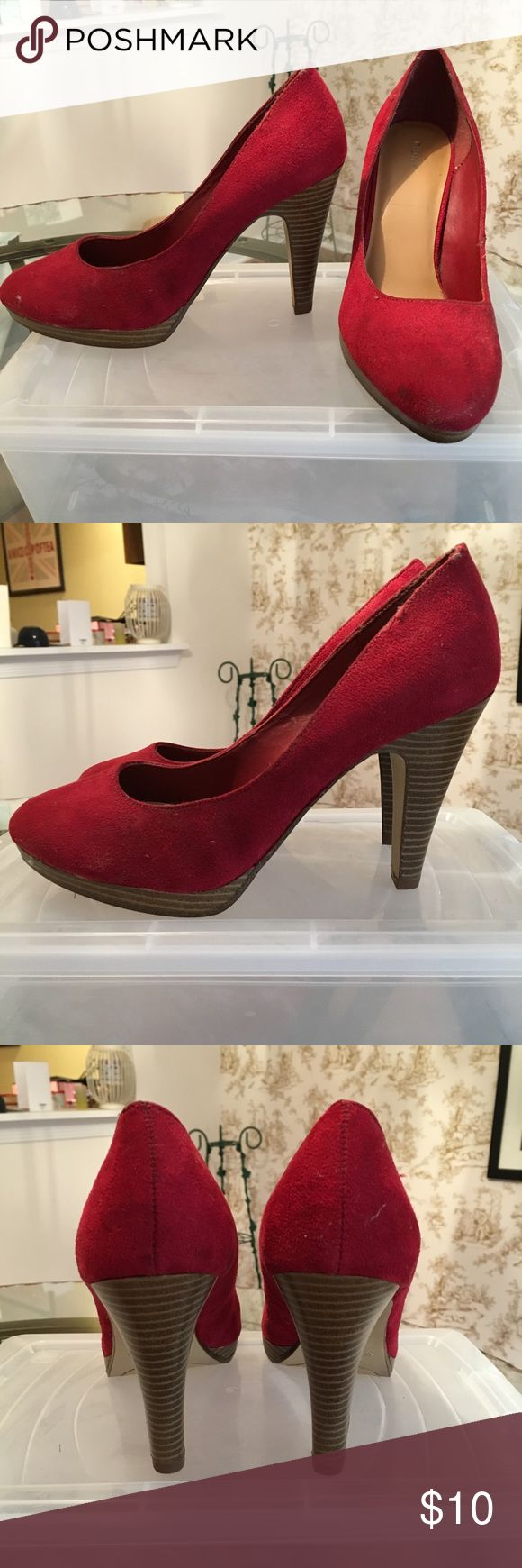 Faux Suede Red Heels Faux suede red shoe with stacked heel. 3 inch heel. Size 8.5 Wide. Worn once. Stored in plastic shoe box. Payless Shoes Heels