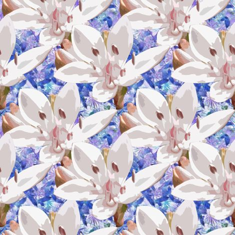 Milkmaids fabric by musingmeanders on Spoonflower - custom fabric  #Spoonflower #SpoonflowerMaker #Fabric #SurfaceDesign #Fabric Design #InteriorDesign #botanicals #HomeDecor #Quilting #Sewing #FabricStash #blue #floral #flowers