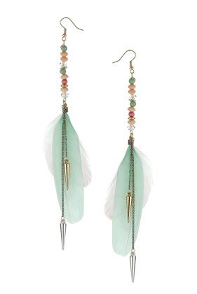 Love these!!!Chandelier earrings with pearls and feathers