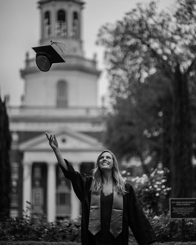 Cliche as it is, the cap-in-the-air shot is a must for your Baylor graduation photos!