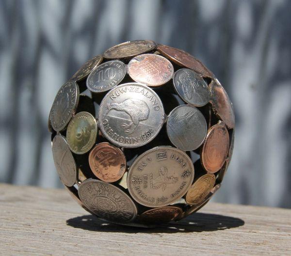 recycling basteln kugel alte münzen