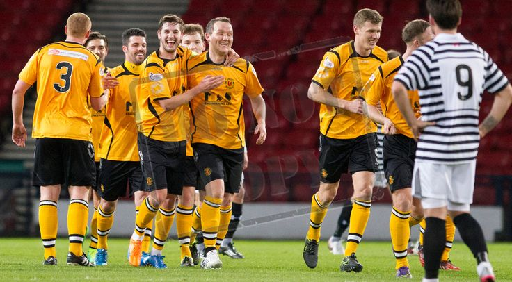 Annan Athletic's players celebrate a goal during the SPFL League Two game between Queen's Park and Annan Athletic.