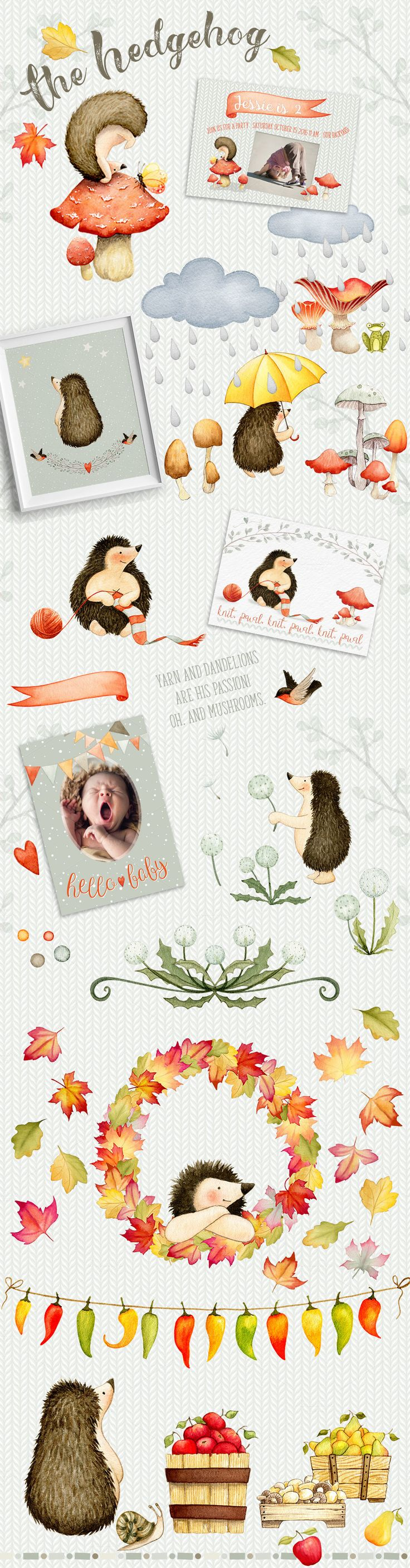Autumn Charm Watercolor collection by Watercolor Nomads on @creativemarket
