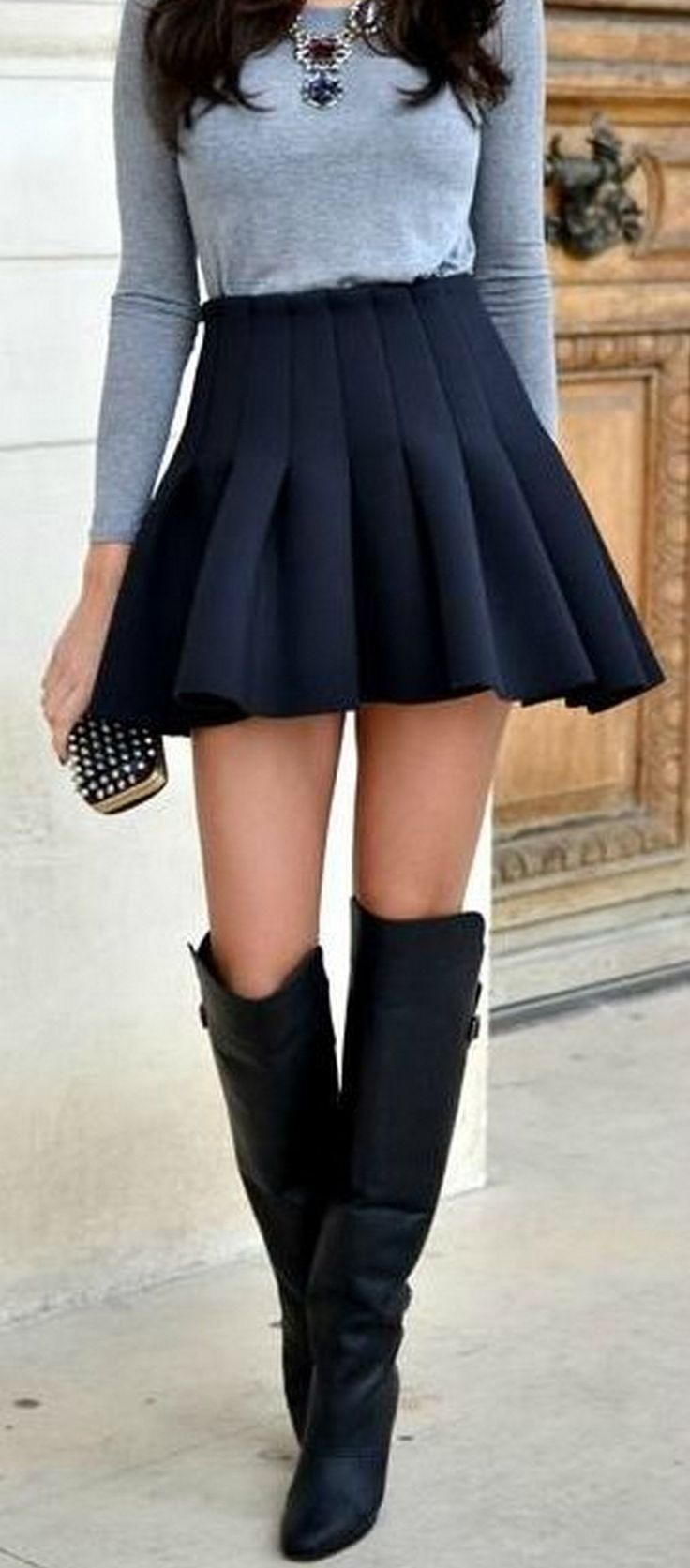 8. Pleated Skirt | How to Wear Over the Knee Boots