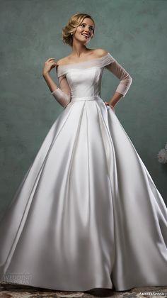 amelia sposa 2016 wedding dresses off the shoulder tulle neckline three quarter 3 4 sleeves satin a line ball gown dress paolina | www.endorajewellery.etsy.com | white wedding dress