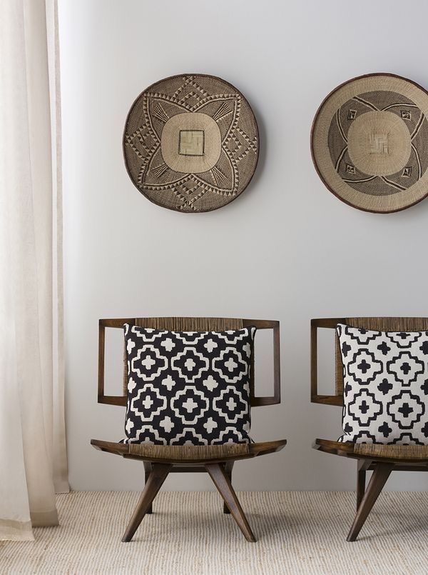 graphic design of pillows texture of chairs & baskets